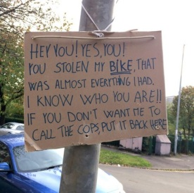 Bike theft causes a particular kind of rage. Photo: Twitter