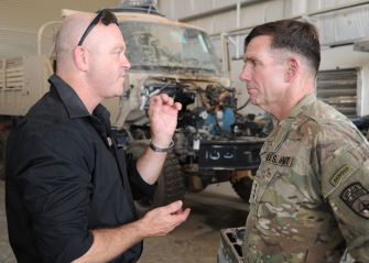 Ross Kemp interviews Lt. William Caldwell, NATO Training Mission Afghanistan commander in Helmand Province, August 2011.