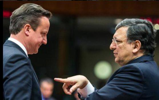 Former EU Commission President José Manuel Barroso giving Cameron what for