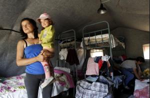 A temporary tent camp set up for Ukrainian refugees in Donetsk, near the Russian-Ukrainian border, June 22, 2014 (Reuters/Eduard Korniyenko)